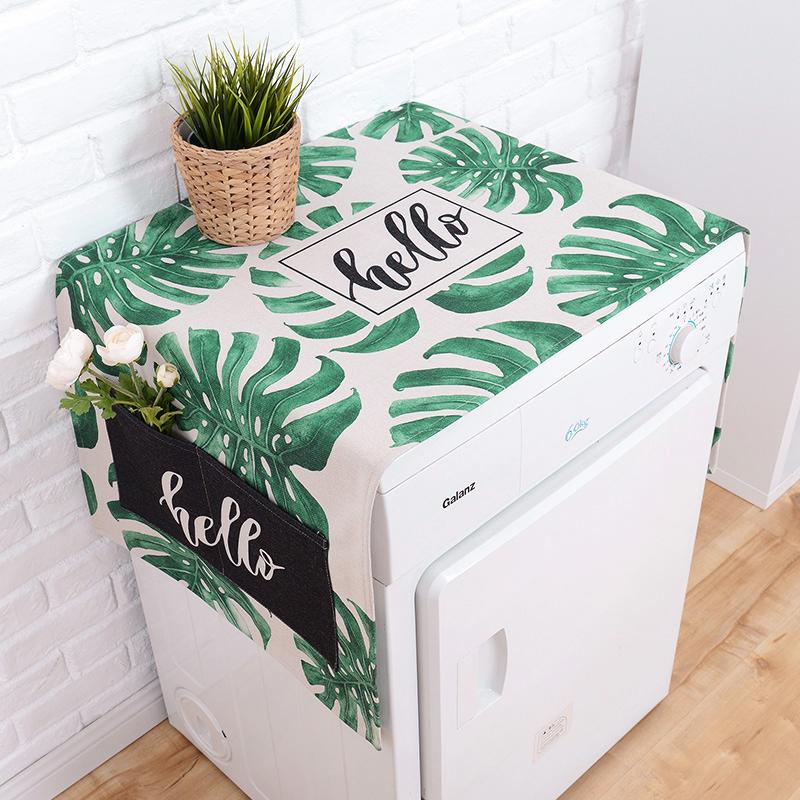 Свежий зеленый завод льняная ткань ролик стиральная машина обложка тканевая тумбочка ткань пыленепроницаемый ткань холодильник покрытия холодильник крышка полотенце ткань