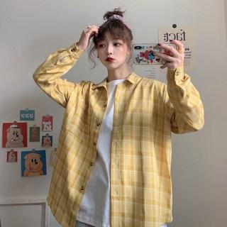 外套2020年春季格子衬衫女盐系少女日系衬衫夏天女装套装时尚百搭