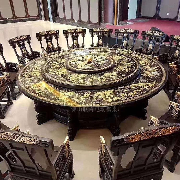 佛山联肯家具定制欧式豪华包厢酒店电动圆餐桌热卖电动餐桌