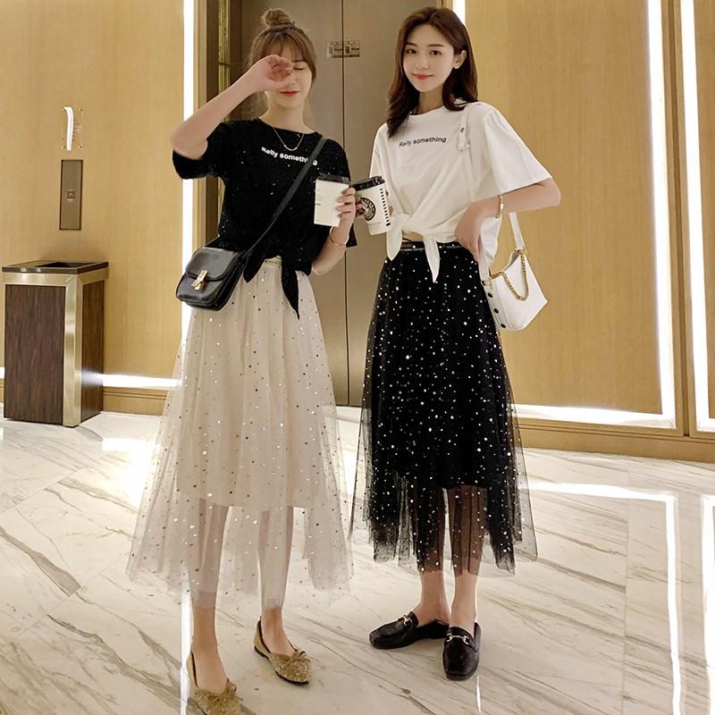 闺蜜装2019夏装星空裙女短袖T恤配网纱裙两件套姐妹装超仙的裙子热销0件包邮