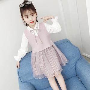 女童秋装连衣裙套装2019新款儿童网红小女孩毛衣洋气公主裙两件套