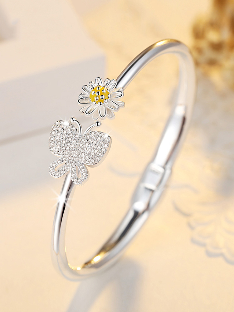 Butterfly Love Flower Silver Bracelet 990 full silver female Daisy jewelry bracelet solid smooth open silver bracelet for girlfriend