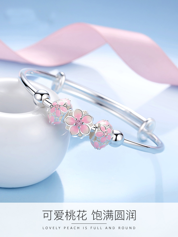 990 pure silver bracelet young Japanese and Korean simple fashion student female transfer pearl cherry blossom silver bracelet for girlfriend