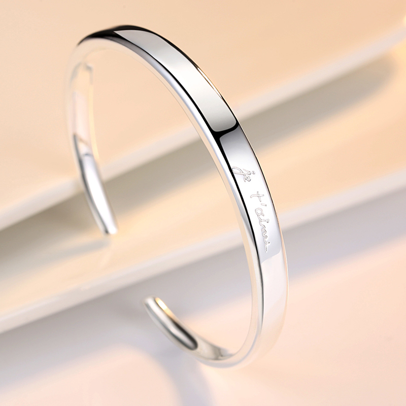 Sterling Silver Bracelet female students jewelry simple pure silver 999 fresh silver bracelet French love gift for girlfriend