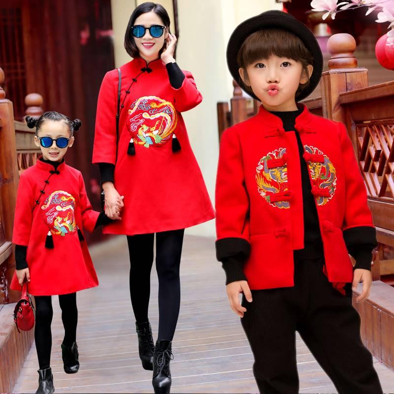 中国风童装宝宝唐装冬男童新年装女童周岁唐装拜年服儿童中式童装,可领取元淘宝优惠券