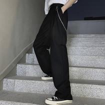 西裤男拖地裤ins潮流韩版宽松垂感长裤直筒阔腿女夏季薄款休闲裤