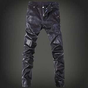 秋冬加绒加厚皮裤男士修身pu皮靴裤机车个性摩托防风紧身小脚裤潮