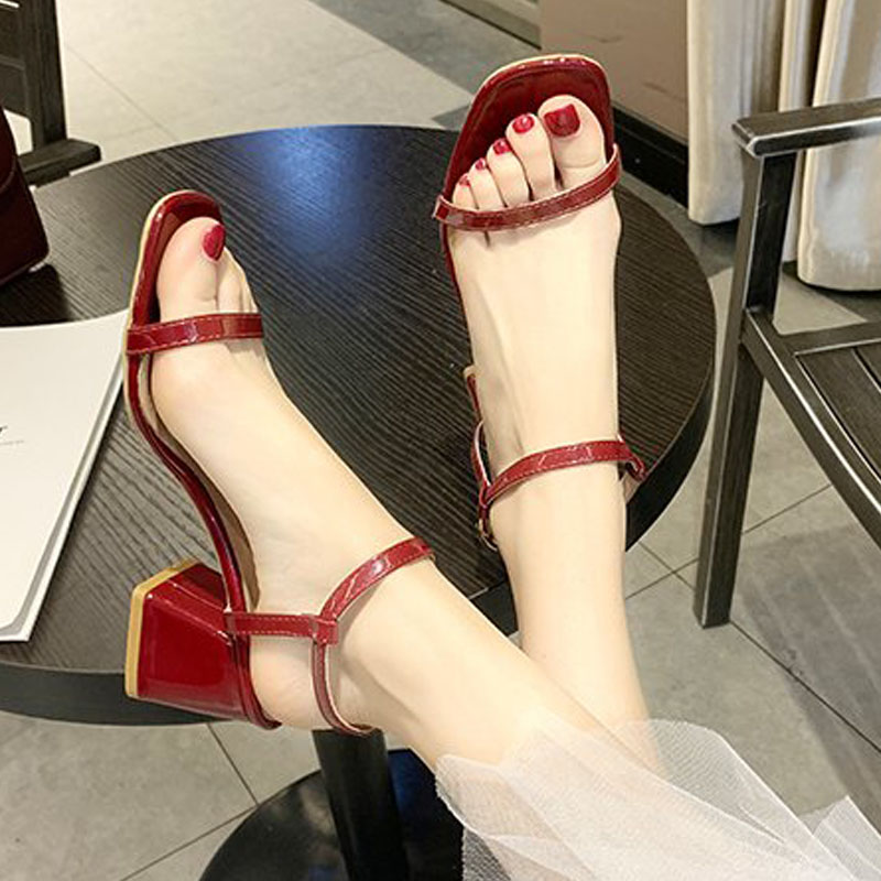 Tiktok, high heel, lace, sandals, female, jitter, red wine, red wine, chic night, and ins.