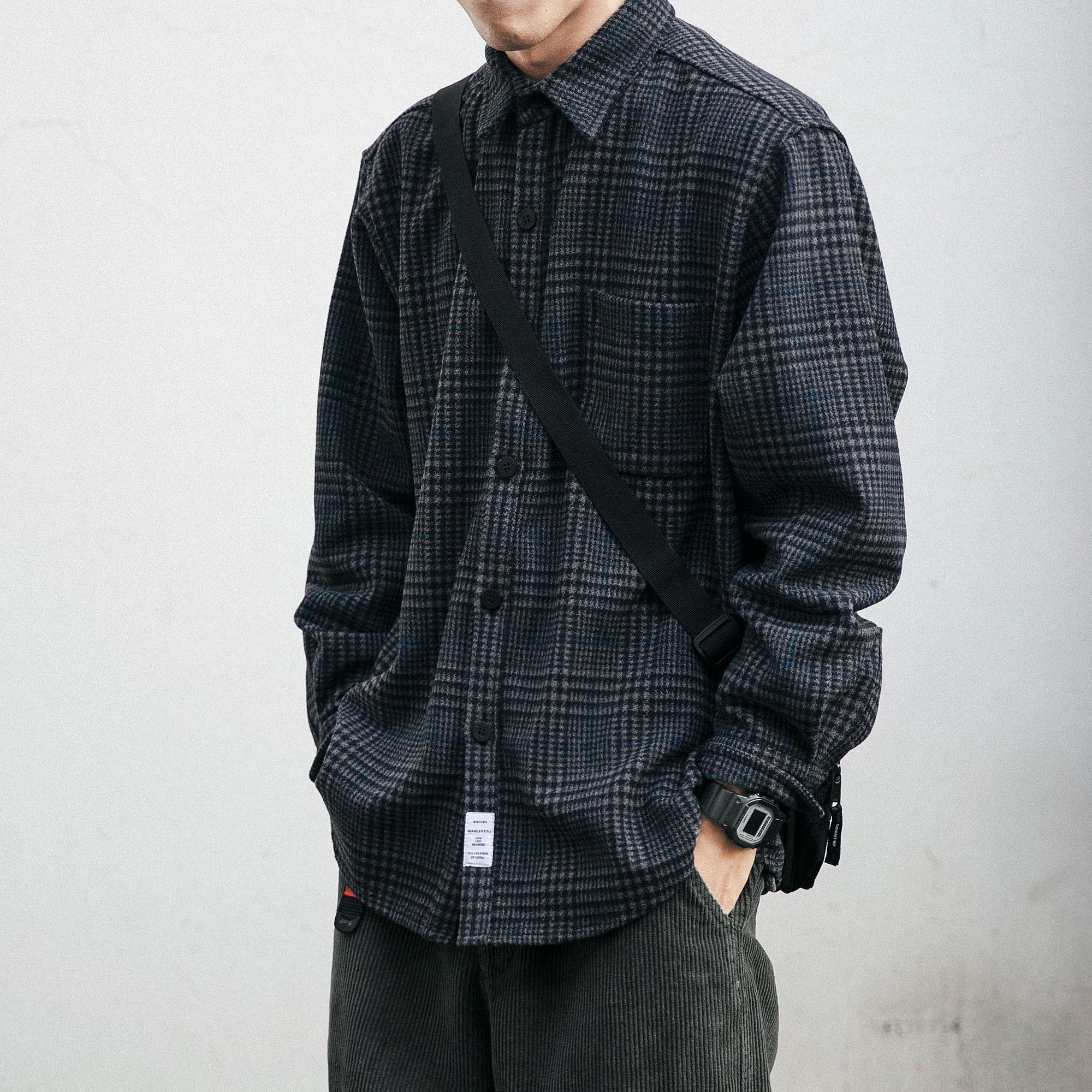 复古工装格子衬衫男春秋季长袖潮流宽松百搭日系衬衣休闲毛呢衬衣