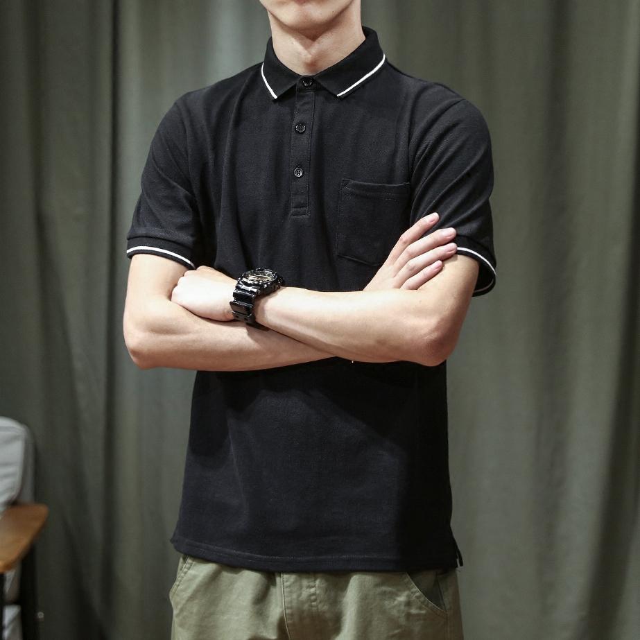日系POLO衫男士翻领保罗港风修身短袖学生帅气潮牌有领T恤衫半袖