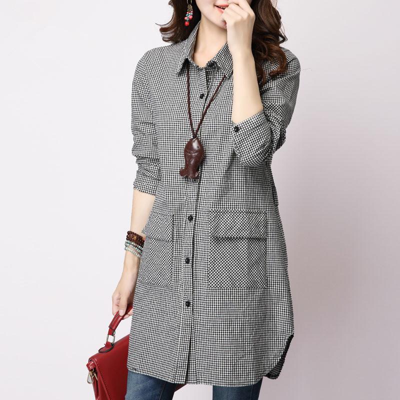 女式衬衫文艺格子棉麻长袖中长款宽松大码上衣2020年新款特惠包邮
