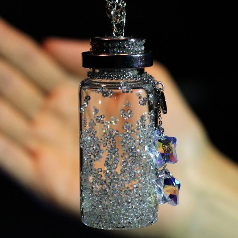 新款包邮流行水滴星星水晶许愿瓶汽车挂件高档女士车后视镜挂饰品