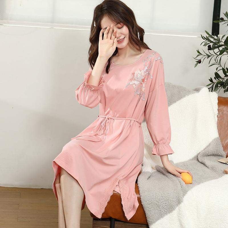 Fashion nightdress womens spring and autumn long sleeve thin lace up waist fall cotton lace pajamas skirt mid skirt