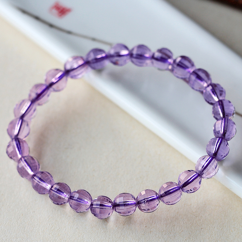 Genuine Pure Natural Amethyst Bracelet womens Amethyst cut Bracelet single circle purple crystal round bead bracelet