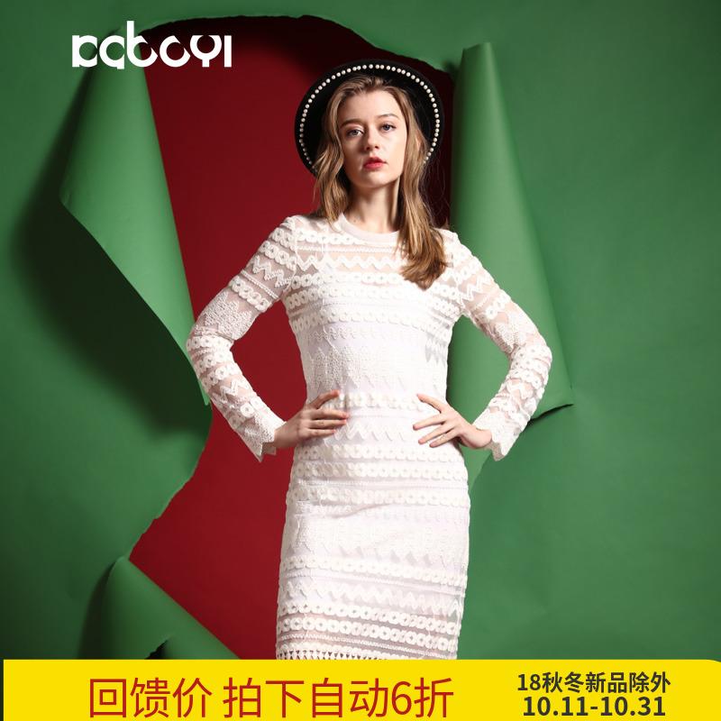 卡布依限量版原创设计师品牌女装 春新款两件套白色蕾丝连衣裙