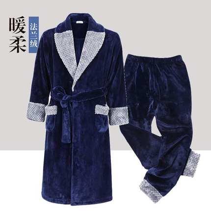 法兰绒睡袍男冬季加绒加厚珊瑚绒浴袍加裤子两件套保暖家居服睡衣