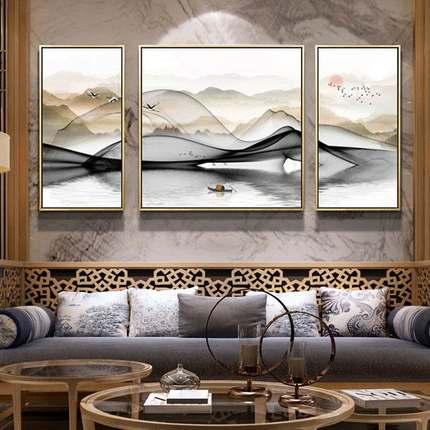 新中式客厅装饰画沙发背景墙三联画现代简约抽象水墨山水风景挂画