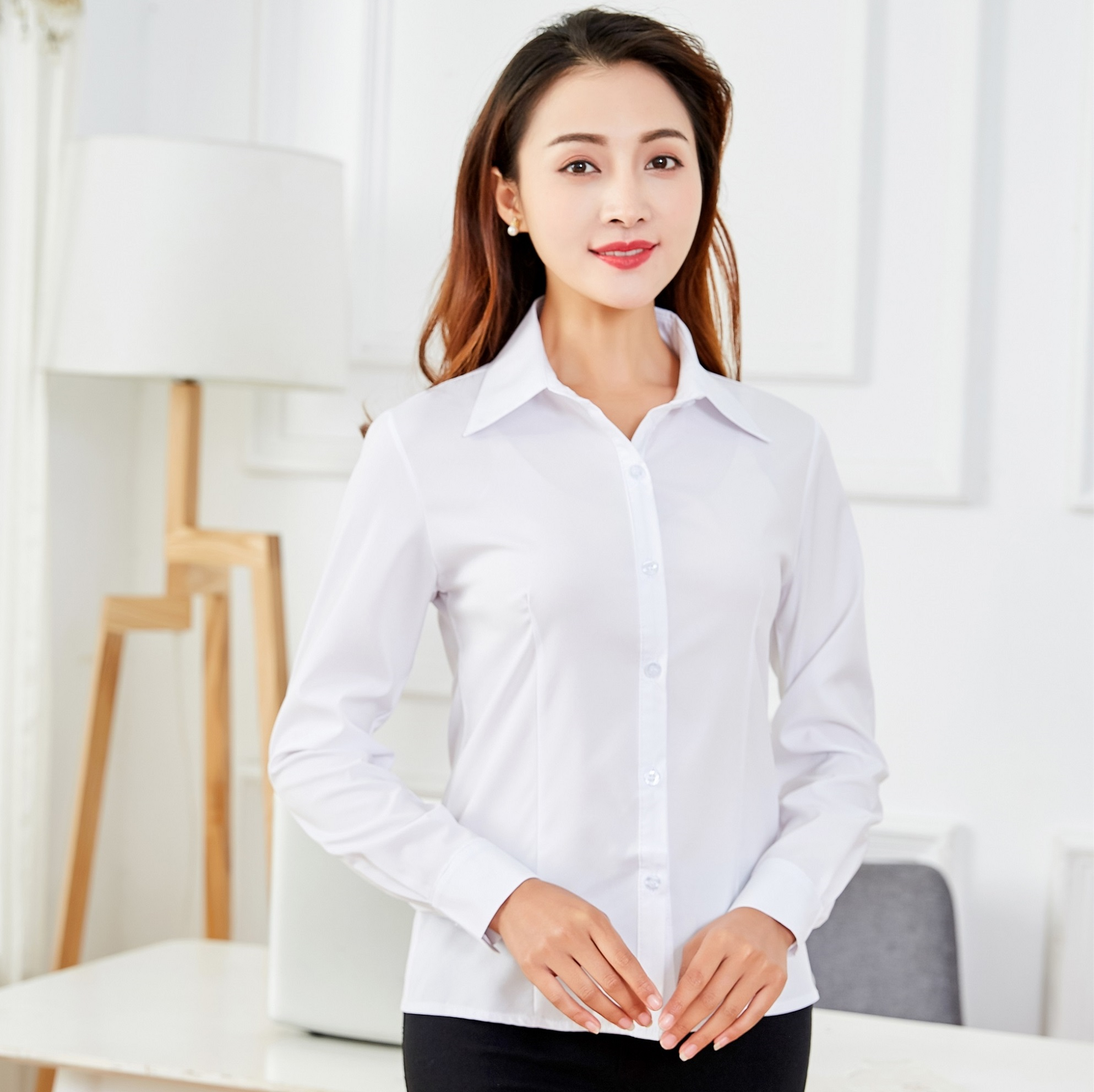 New white shirt womens long sleeve slim professional wear large student shirt work clothes Korean Short Sleeve interview suit