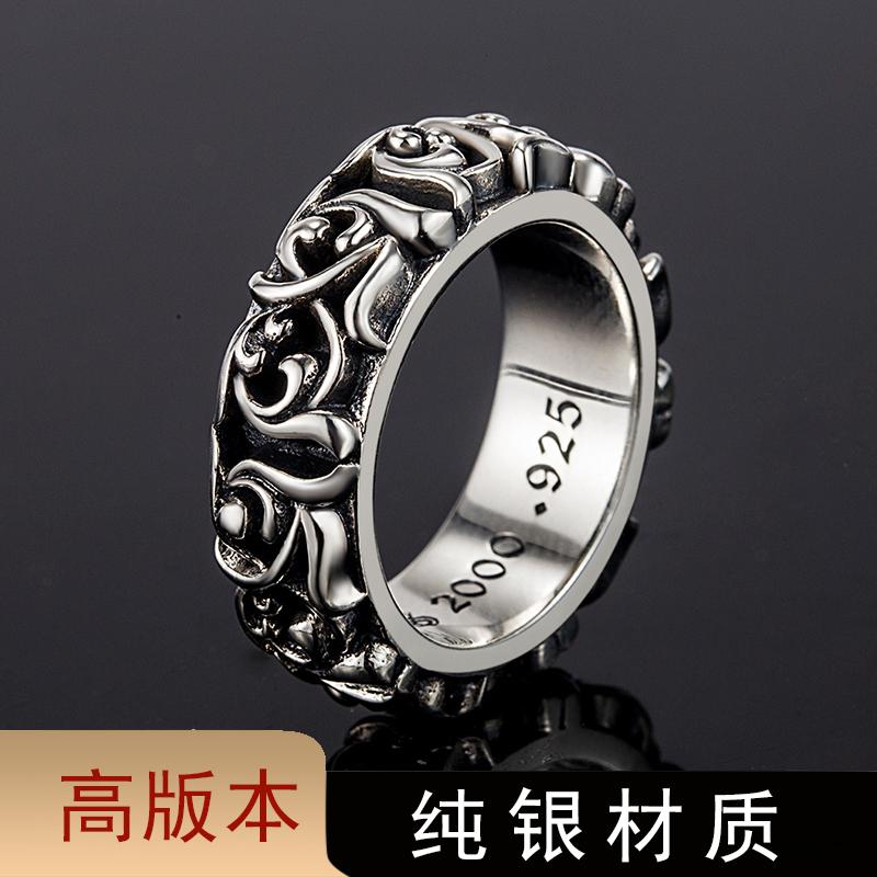 S925925ch croquet ring mens eternal vine retro punk hip hop ring womens high version lovers trend