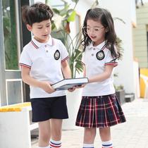 校服套装 小学生幼儿园园服夏装t恤短袖学院风中纯棉班服儿童定制
