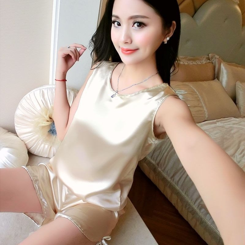 Pajamas thin ice silk suspender short pants womens sleeveless round neck summer silk two piece suit household clothes