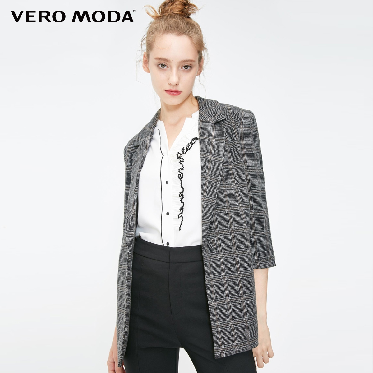 Vero Moda workplace Plaid Lapel 3 / 4 sleeve suit coat for women 31911k505