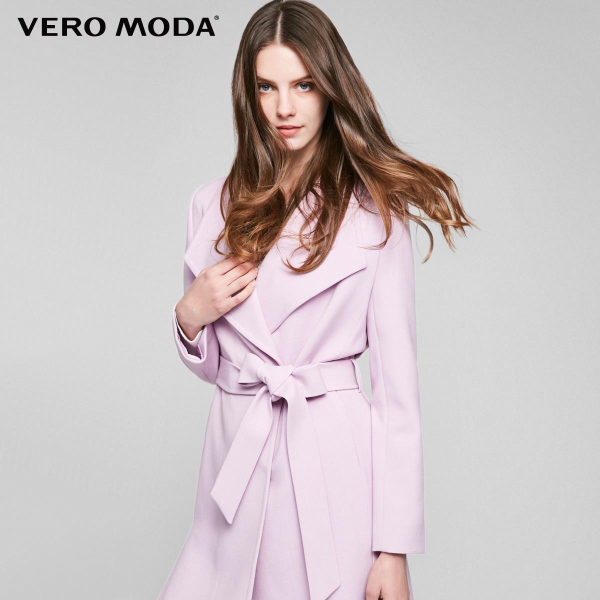 VeroModa2017新品翻领暗扣门襟系带中长款风衣外套|317121508