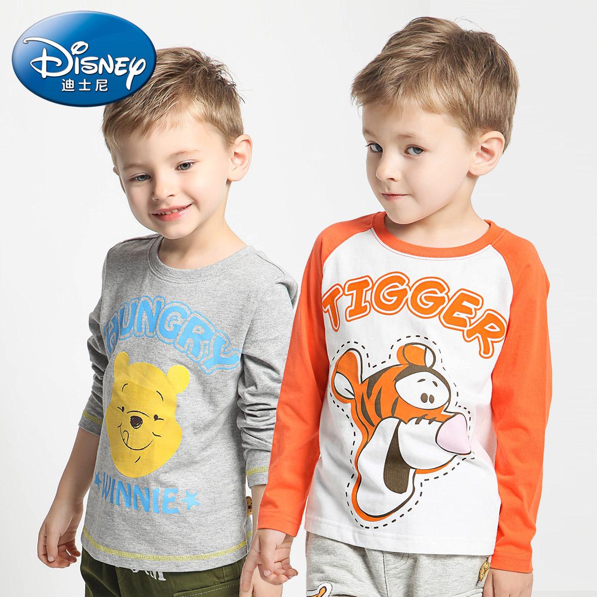 迪士尼男童長袖T恤小熊維尼卡通長袖打底衫2016秋新品 綠盒子