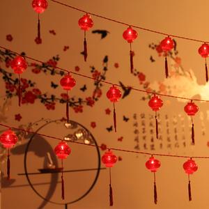 过年喜庆红灯笼小灯串挂件装饰房间布置新年节日结婚装扮气氛彩灯