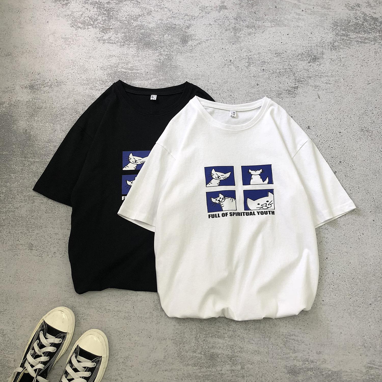 48.00元包邮夏短袖女宽松古着感少女日系潮t恤