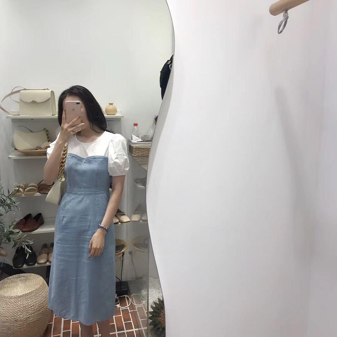 The best shop denim skirt patchwork dress