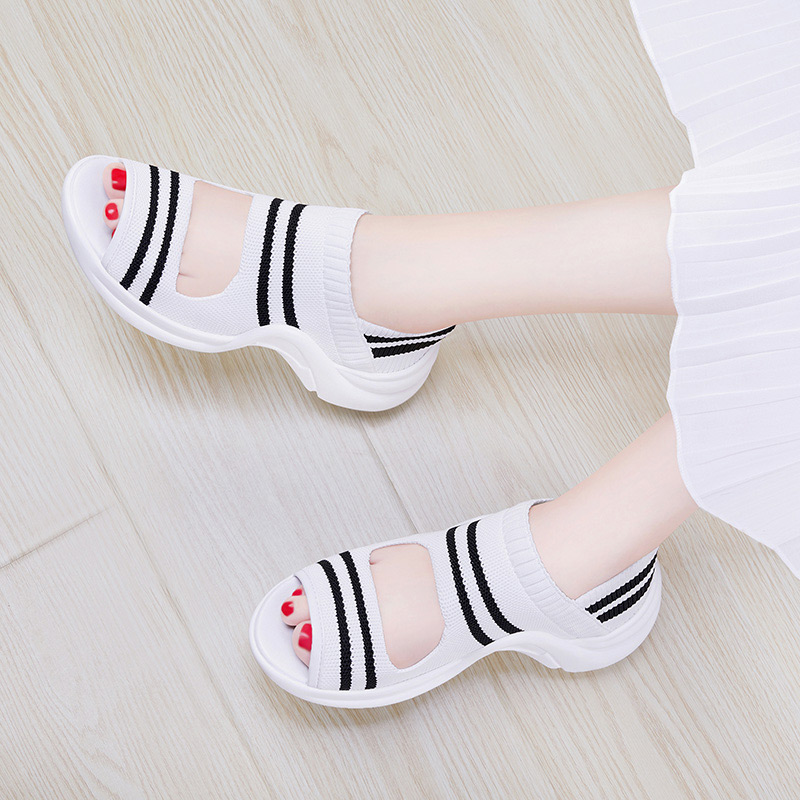 Roman sports sandals 2020 new versatile fairy style medium heel flat white shoes summer muffin casual shoes