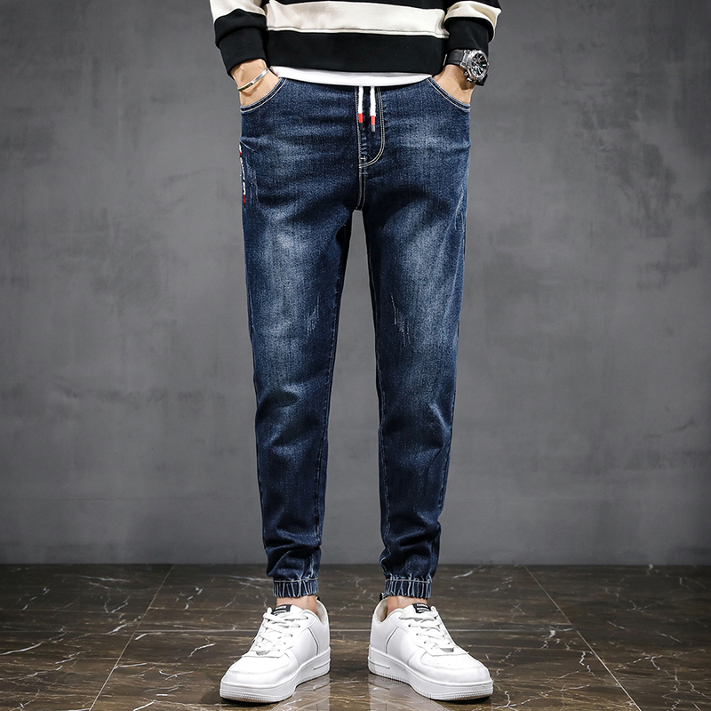 Yamano man denim trousers mens autumn and winter casual loose nine point corset waist work clothes Korean fashion pants