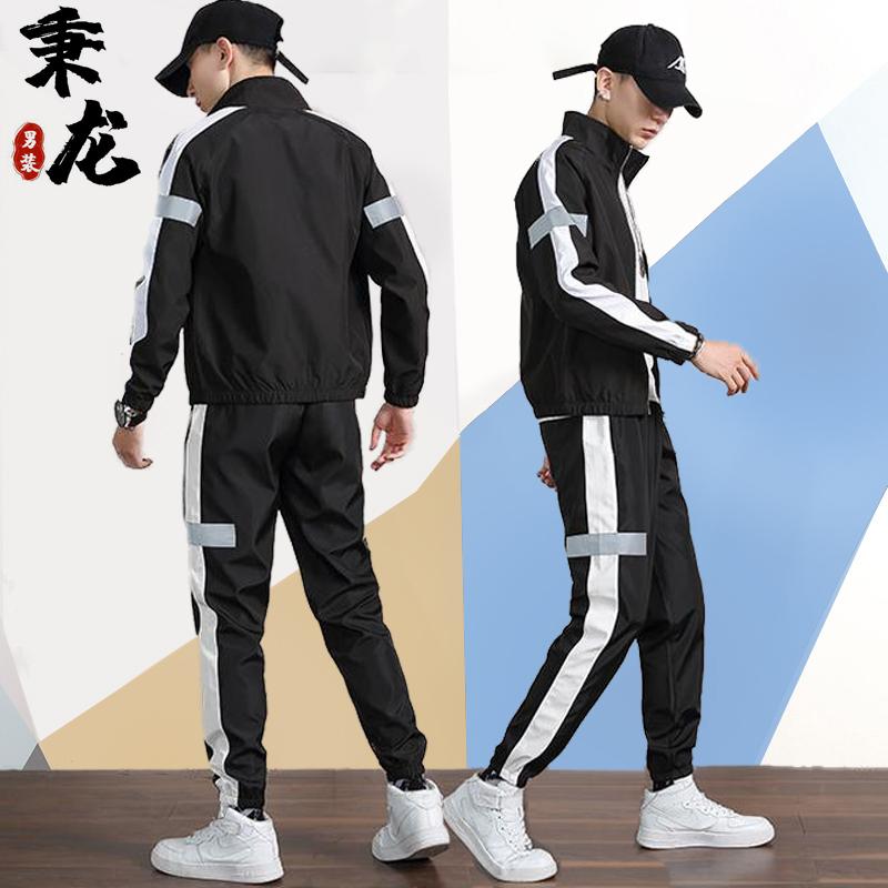 卫衣套装冬季男◎士2020新款加绒运动休闲潮秋冬款搭�配一套