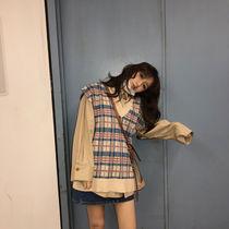 衬衣套装2020秋季新款宽松长袖衬衫+格子针织毛衣马甲两件套女潮