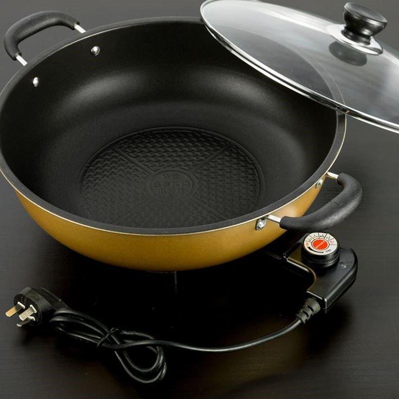 家用圆形炒菜煮饭电锅一体1-2小型4人煲汤做饭插电炒锅火锅不粘锅