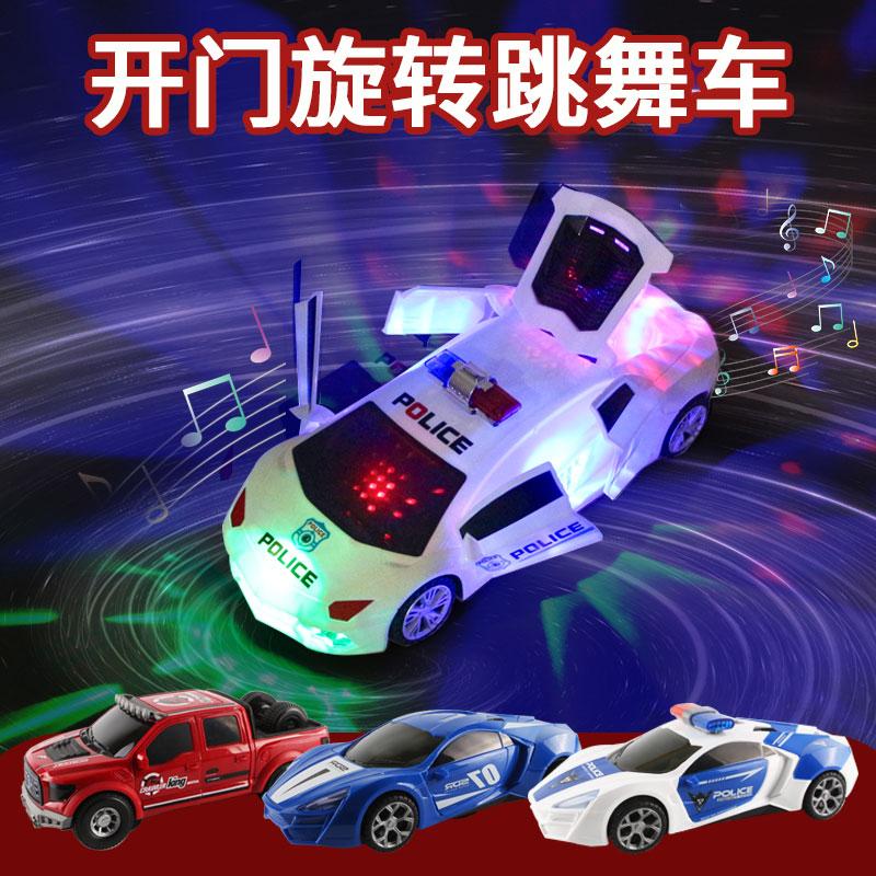 七彩灯光跳舞旋转万向警车充电彩灯音乐电动儿童男孩汽车玩具礼物