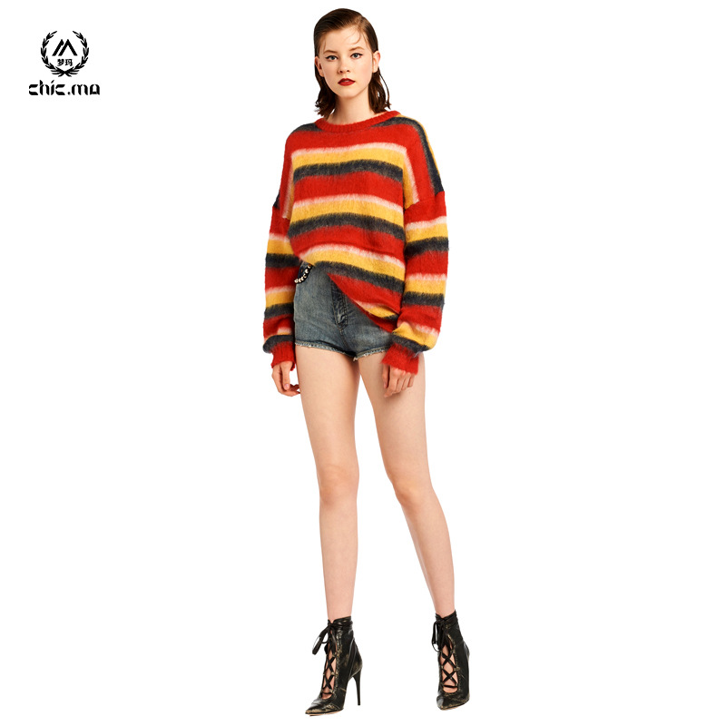 Mohair knitwear blended loose stripe long knitted cardigan new fall 2020 womens jacket