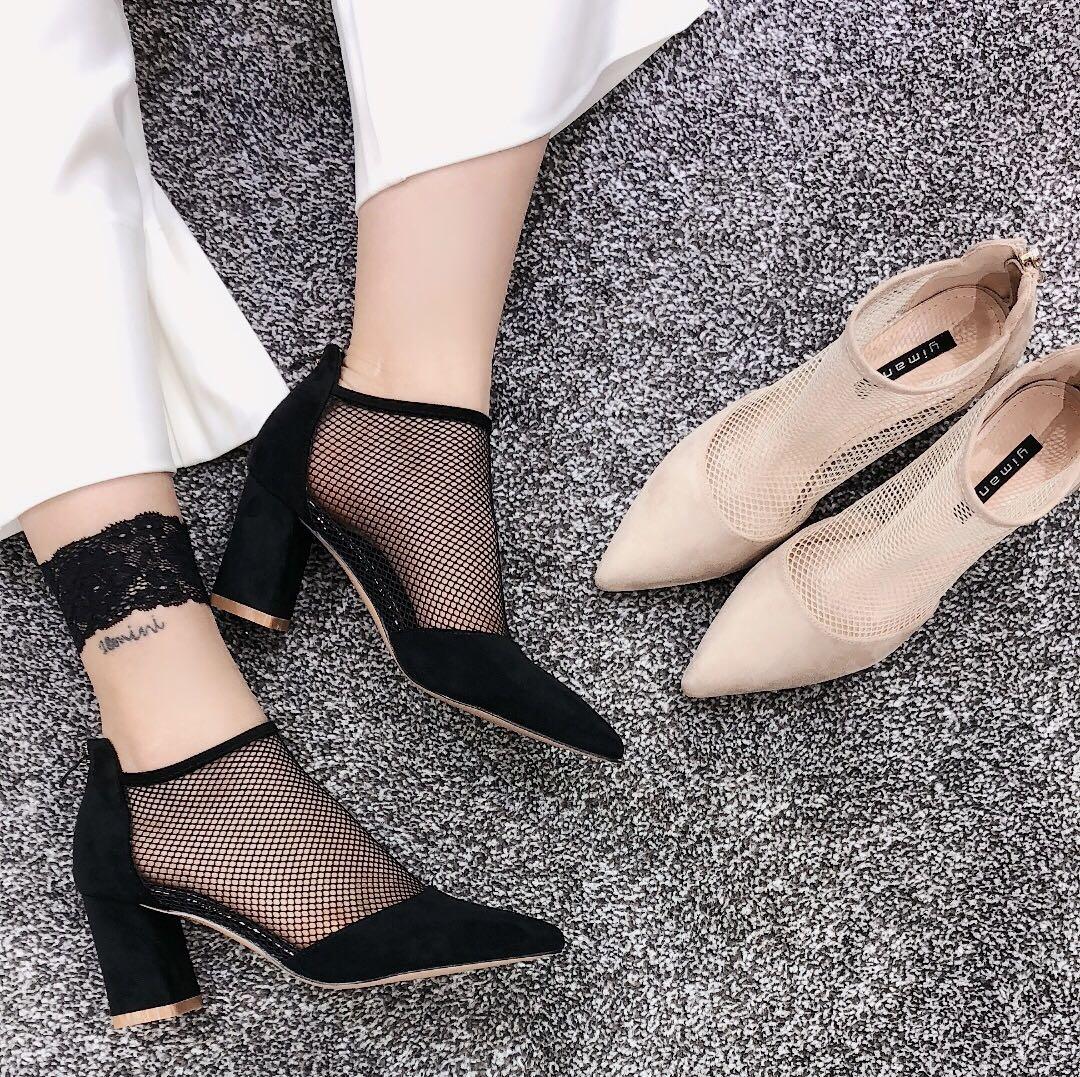 11月06日最新优惠罗马网红凉靴女镂空单靴子女网纱2019新款夏季粗跟高跟鞋包头凉鞋