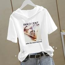 白色短袖印花连帽白色t恤女修身韩版半袖宽松大码夏新款上衣ins潮