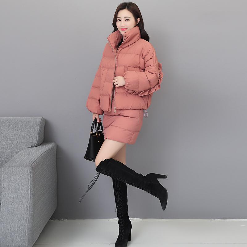棉衣套装女冬2018冬季新款女棉衣两件套短棉袄棉裤立领小香风套装