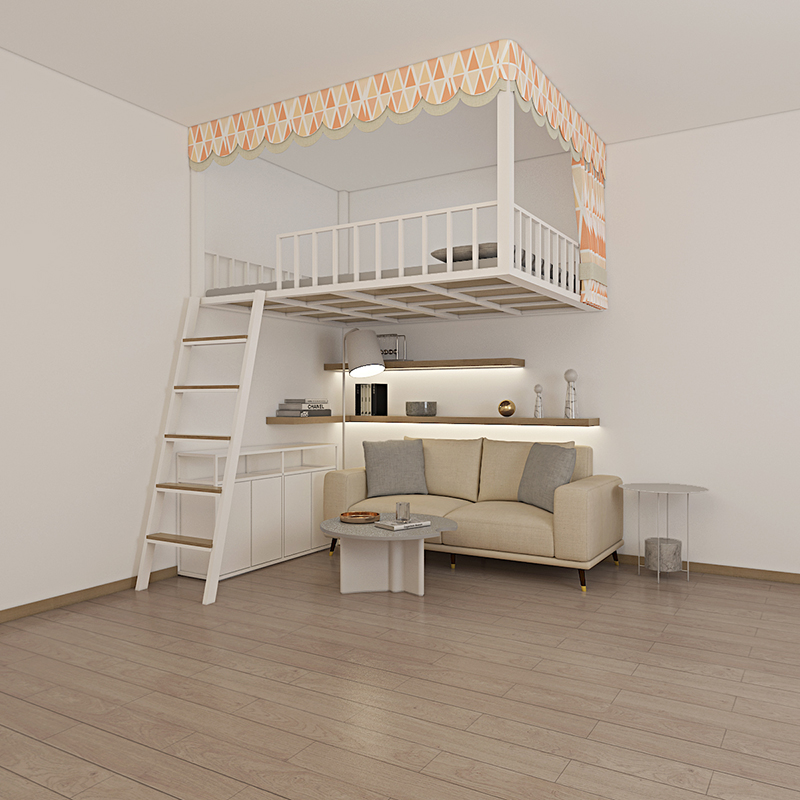 Provincial space multi-functional loft bed double loft apartment elevated bed iron childrens hanging upper bed
