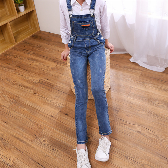 Childrens wear girls jeans pants spring and autumn wear childrens slim fit small leg pants little girls childrens sling one-piece pants