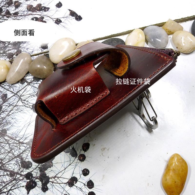 Waist wear belt Zippo leather case lighter case card bag multi-functional ultra thin zipper waist bag leather leather leather leather LFD