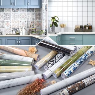厨房防油加厚仿大理石纹贴纸灶台墙面翻新自粘墙纸防水台面壁纸