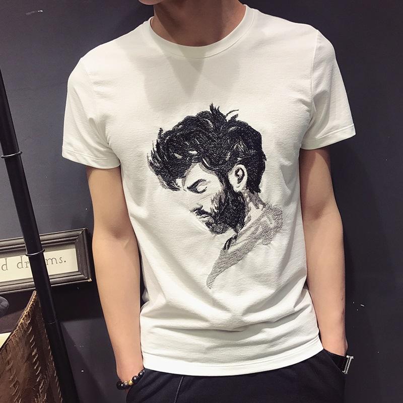 夏季新款刺绣人像印花短袖男士衬衫潮牌个性圆领纯棉薄t恤打底衫