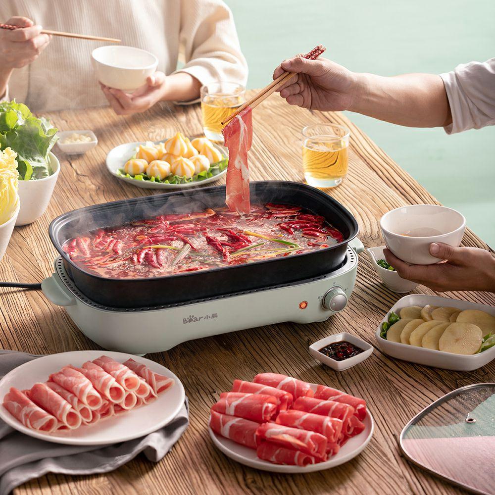 小熊烧烤一体烫涮烤肉机电烤盘火锅