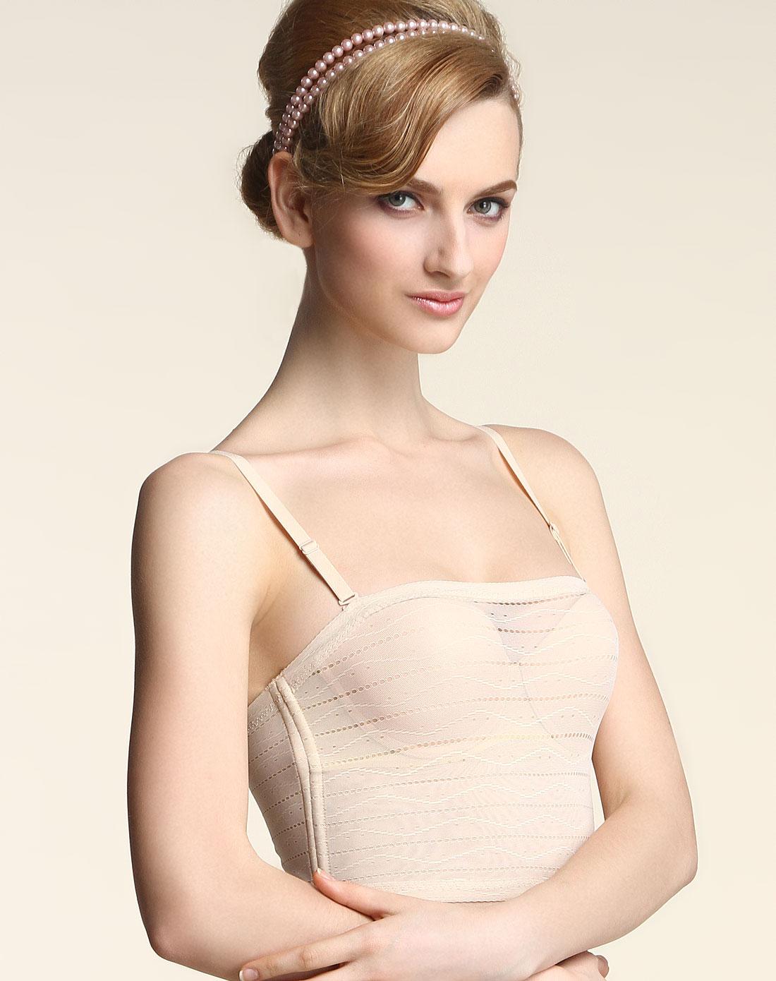 爱慕短款蕾丝背心式胸衣抹胸塑身文胸裹胸无痕防走光透气内衣正品