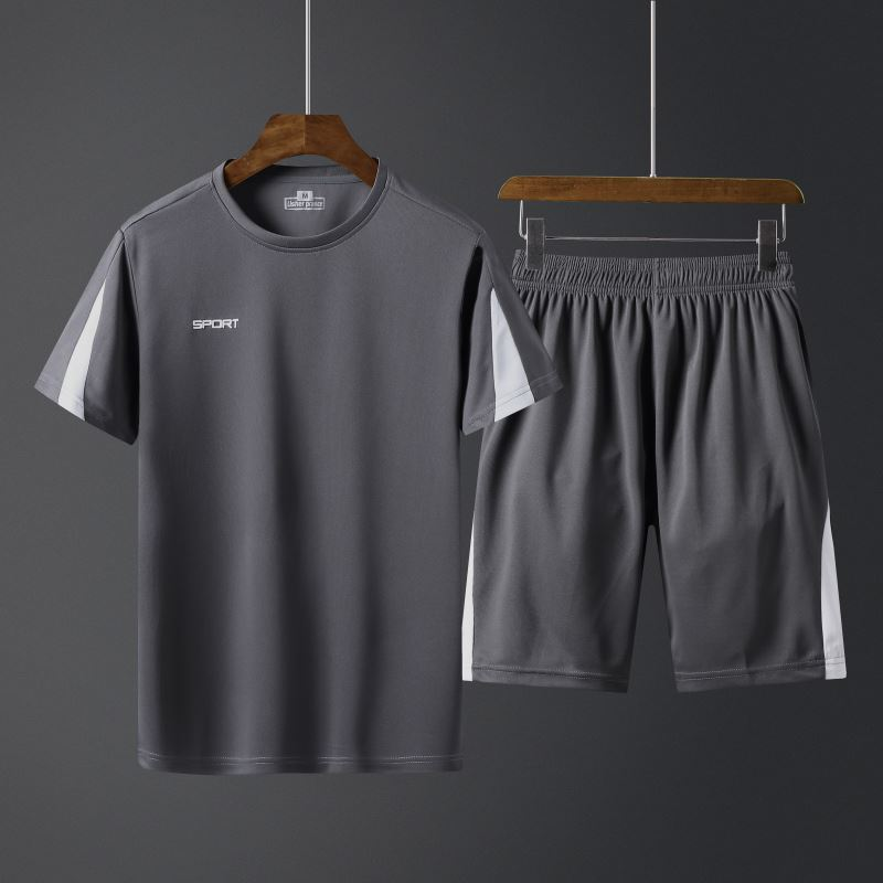 Summer 2020 new mens casual suit short sleeve breathable shorts quick dry sportswear suit outdoor sportswear