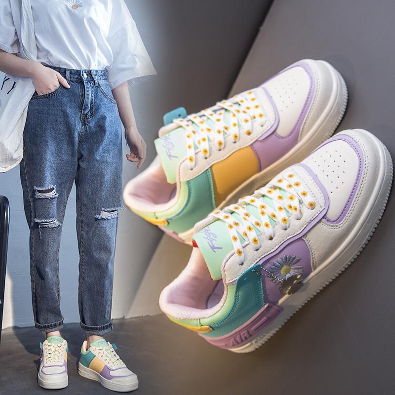 夏季aj女鞋正版空军一号马卡龙鞋小雏菊韩版厚底aj1女鞋网面板鞋